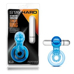 10 FUNCTION VIBRATING TONGUE RING  BLUE